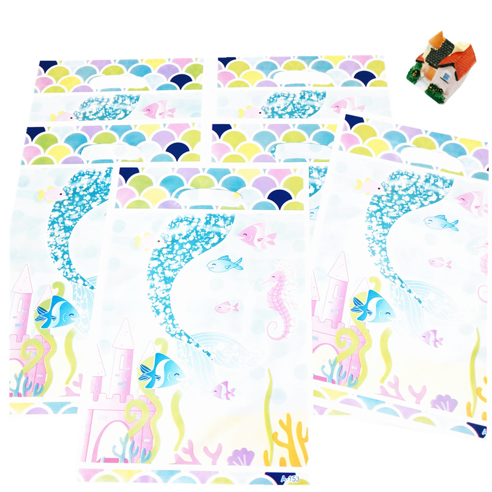 6pcs Colour Mermaid Gift Bags Kids Birthday Party For Children Carnival Party Favors Candly Sweety Bags Decoration plastic Bags in Gift Bags Wrapping Supplies from Home Garden