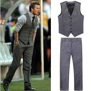 2014 new arrival vest suits slim gray cotton men two pieces ...