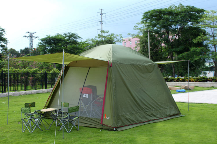 Alltel 5-6 person use double layer ultralarge waterproof windproof camping family party big tent large gazebo alltel high quality double layer ultralarge 4 8person family party gardon beach camping tent gazebo sun shelter