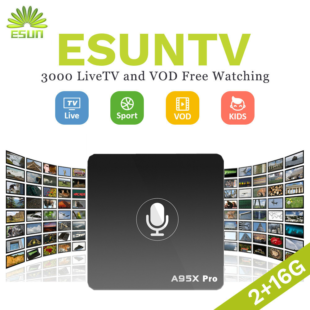 A95X Pro Voice Control ESUN IPTV Android 7.1 TV Box with 1 year Germany Netherlands Spain Portugal Albania USA UK Canada XXX a95x pro voice control with 1 year italy iptv box 2g 16g italy iptv epg 4000 live vod configured europe albania ex yu xxx