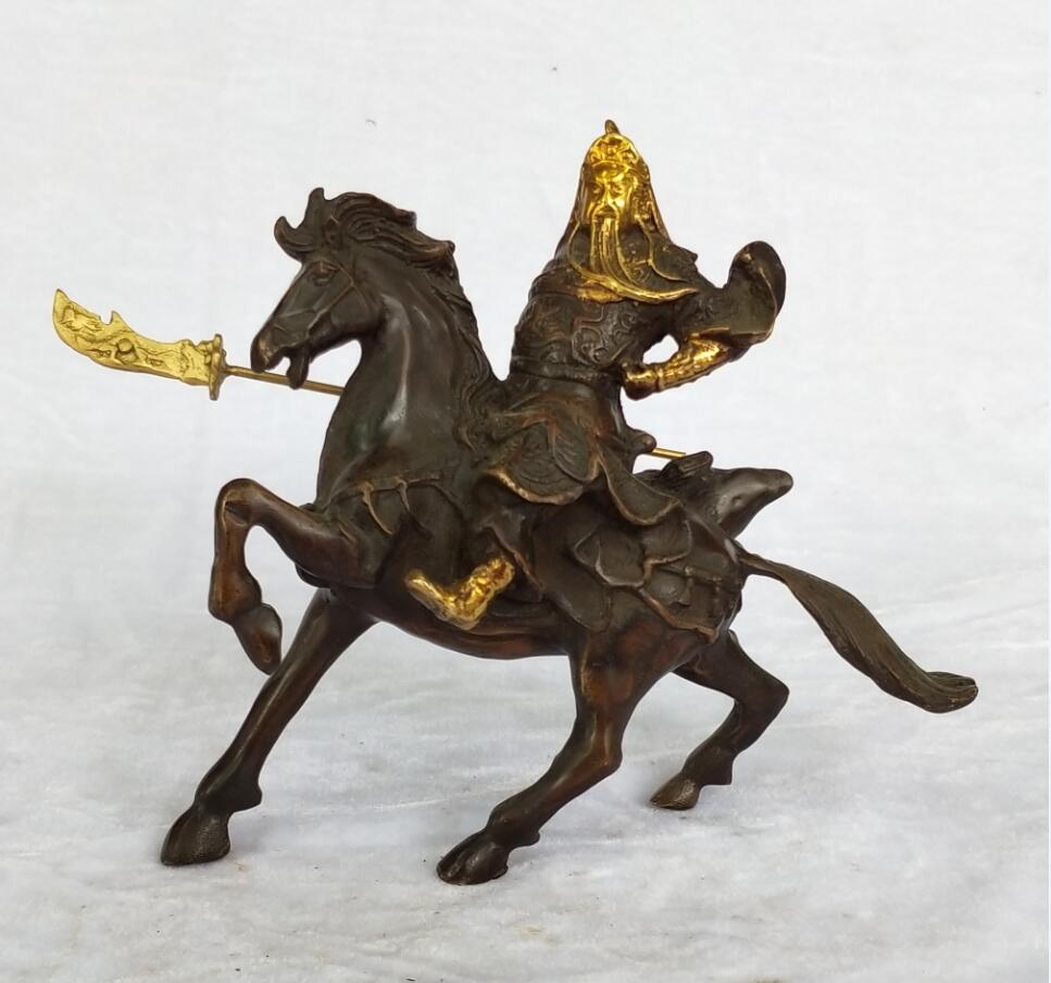 Collection Chinese Old Bronze Gilt Carved Guan Gong Riding Horse Sculpture home art decoration antique statueCollection Chinese Old Bronze Gilt Carved Guan Gong Riding Horse Sculpture home art decoration antique statue