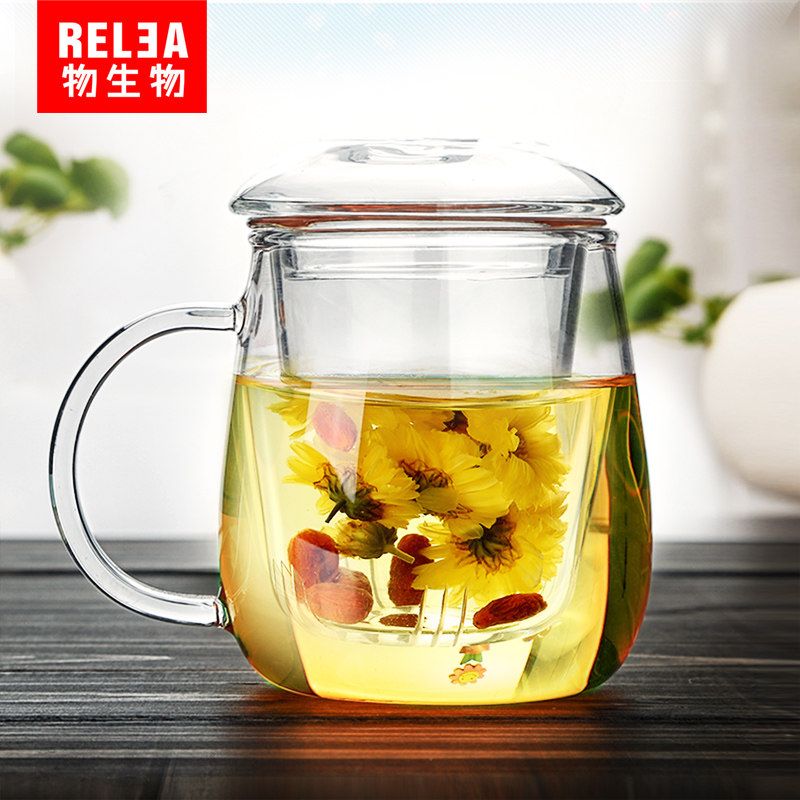 Clear Glass Mug Glass Coffee Tea Cup Milk Juice Mug with Mesh Tea Strainer Infuser with Filter teapot heat-resistant glass mugs