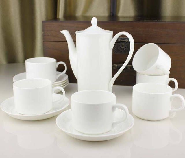 Jingdezhen Bone China Coffee Set Fashion Pot Tea White Cup And Saucer Spoon