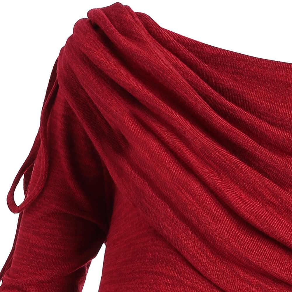 Wipalo אדום ארוך חולצות ארוך Foldover צווארון בתוספת גודל Ruched חולצות חדש אופנה נשים חולצות מקרית Blusas Mujer גדול גודל 5XL