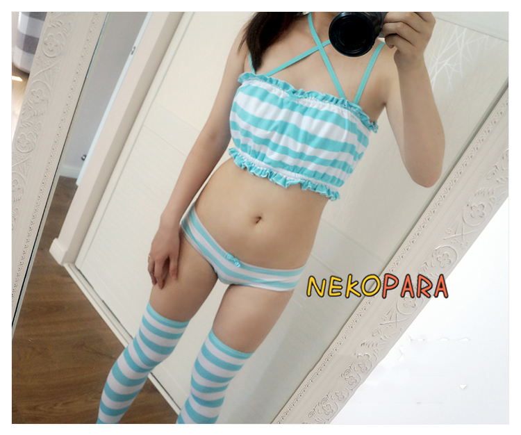 Cute Women/'s Japanese Anime Style Blue/&White Stripe Camisoles Tie /& Star Style