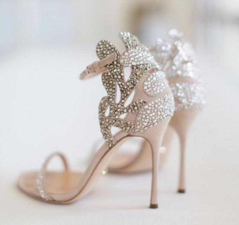 Crystals Flower Thin <font><b>High</b></font> <font><b>Heels</b></font> Plus Size 31-45 Summer Shoes <font><b>Women</b></font> <font><b>Sandals</b></font> <font><b>Sexy</b></font> Bling Party Shoes Woman <font><b>High</b></font> <font><b>Heel</b></font> <font><b>Pumps</b></font> Wedding image