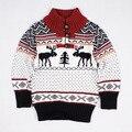 Европейский и американский стиль мальчики лось рождественский досуг детская одежда свитера детей длинным рукавом мода кнопки свитер