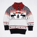 Estilo europeo y americano de los alces ocio navidad infantiles desgaste suéteres manga de los niños botones de moda suéter