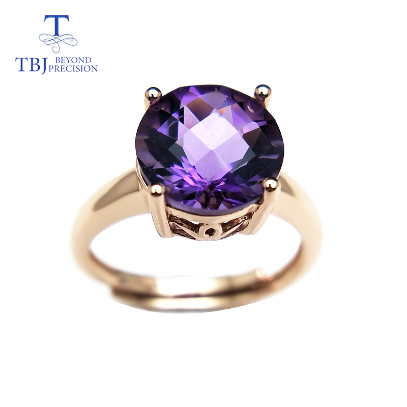 Tbj,natural amethyst and citrine round10mm Checkboard cut gemstone Ring 925 sterling silver jewelry for women daily wear gift