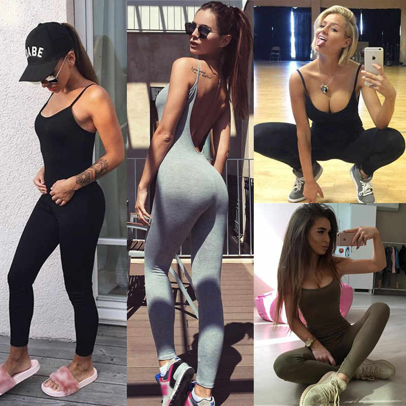Women's Jumpsuit Sexy Bodycon Wear Hot Backless Summer Jumpsuit Clothes Deep V neck Bodysuit Straps Skinny Sleeveless Bodysuits