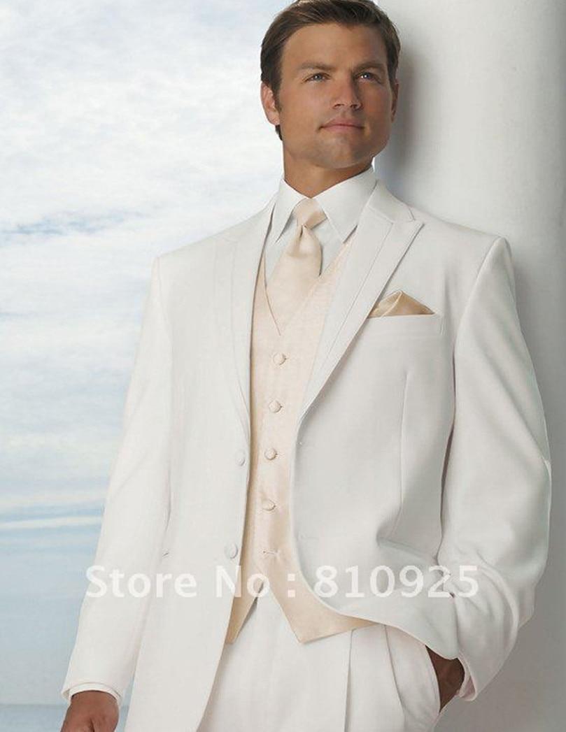 bespoke mens suit white wedding suits for men champagne vest groom ...