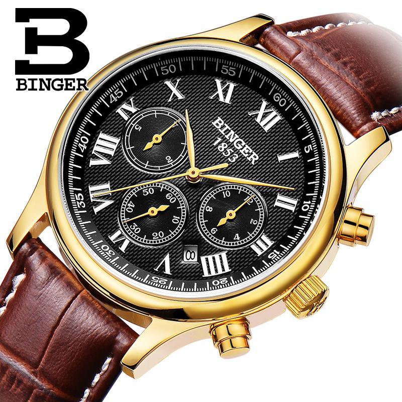 Switzerland men's watch luxury brand Wristwatches BINGER luminous Mechanical Wristwatches leather strap Waterproof B6036-10 switzerland watches men luxury brand wristwatches binger mechanical wristwatches leather strap waterproof b6036 9