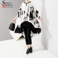 New 2019 Korean Style Women Summer Printed Tees Top Oversized T shirt Ruffles Hem Female Unique Street Wear Tshirts Style 5069