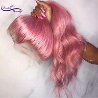 Розовый цвет Синтетические волосы на кружеве человеческих волос парики 150% плотность волос бразильский Реми объемная волна бесклеевой пари