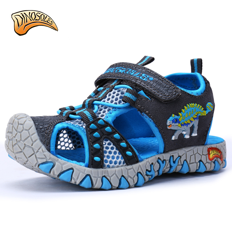Dinoskulls Children Shoes Kids Shoes Boys Light Beach Sandals 2018 New Summer Toddler Sandals Leather Dinosaur Glowing Sneakers ...