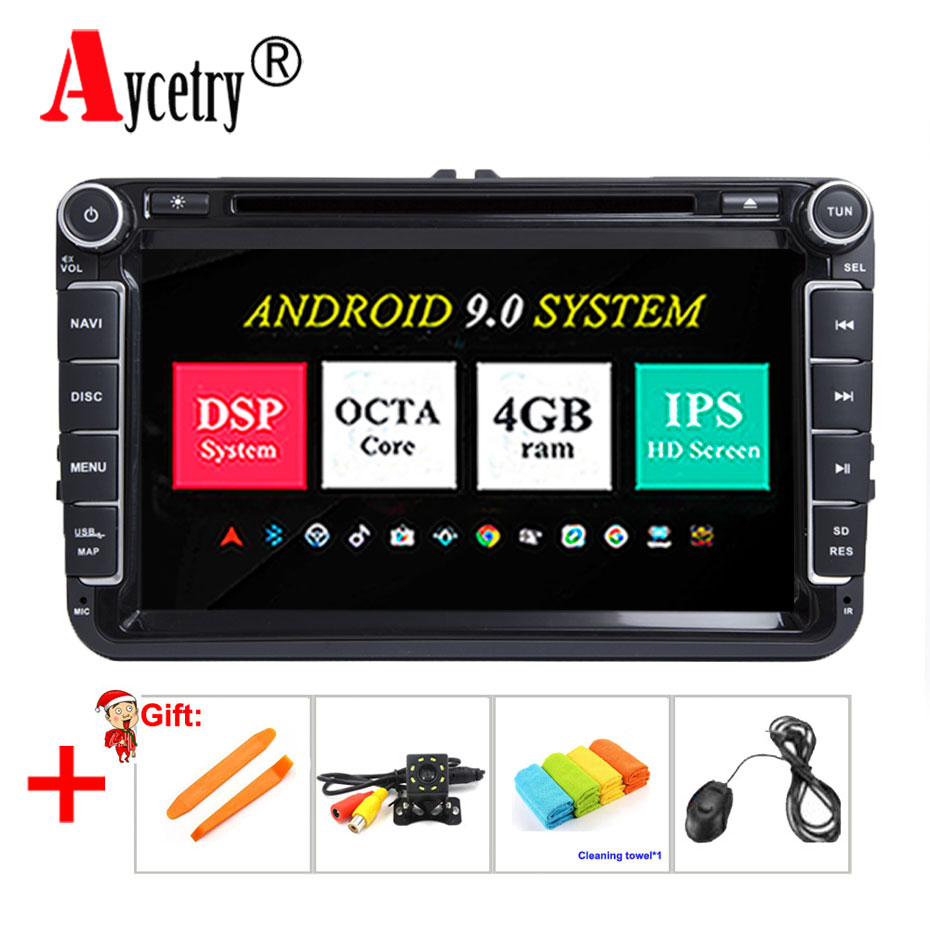 DSP IPS 2 Din Car radio Multimedia dvd Player Android 9 gps For Skoda Seat Volkswagen