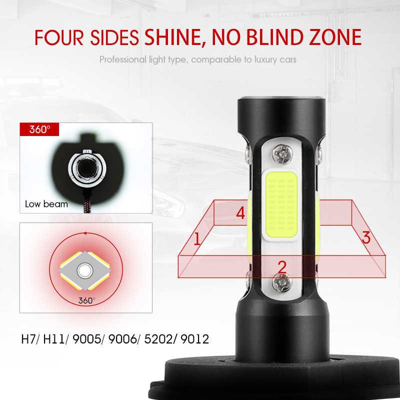 Oslamp X7 4 Sides Luminous H4 H11 H7 9005 9006 Car LED Headlight Bulbs 100W 1000lm Headlamp COB Chips Auto Led Bulb 12v