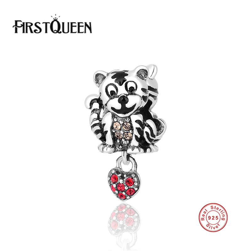 FirstQueen 925 Sterling Silver Charm Animal Tiger Pendant Charms European Bead Fit Bracelet Bangle DIY Accessories Jewelry