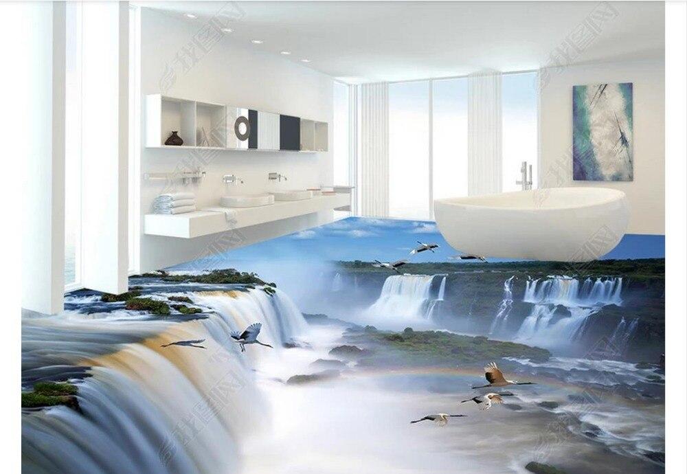 custom photo wallpaper 3d flooring Waterproof self adhesion murals Large Falls Waterfall 3D Floor wall Stickers wallpaper decor