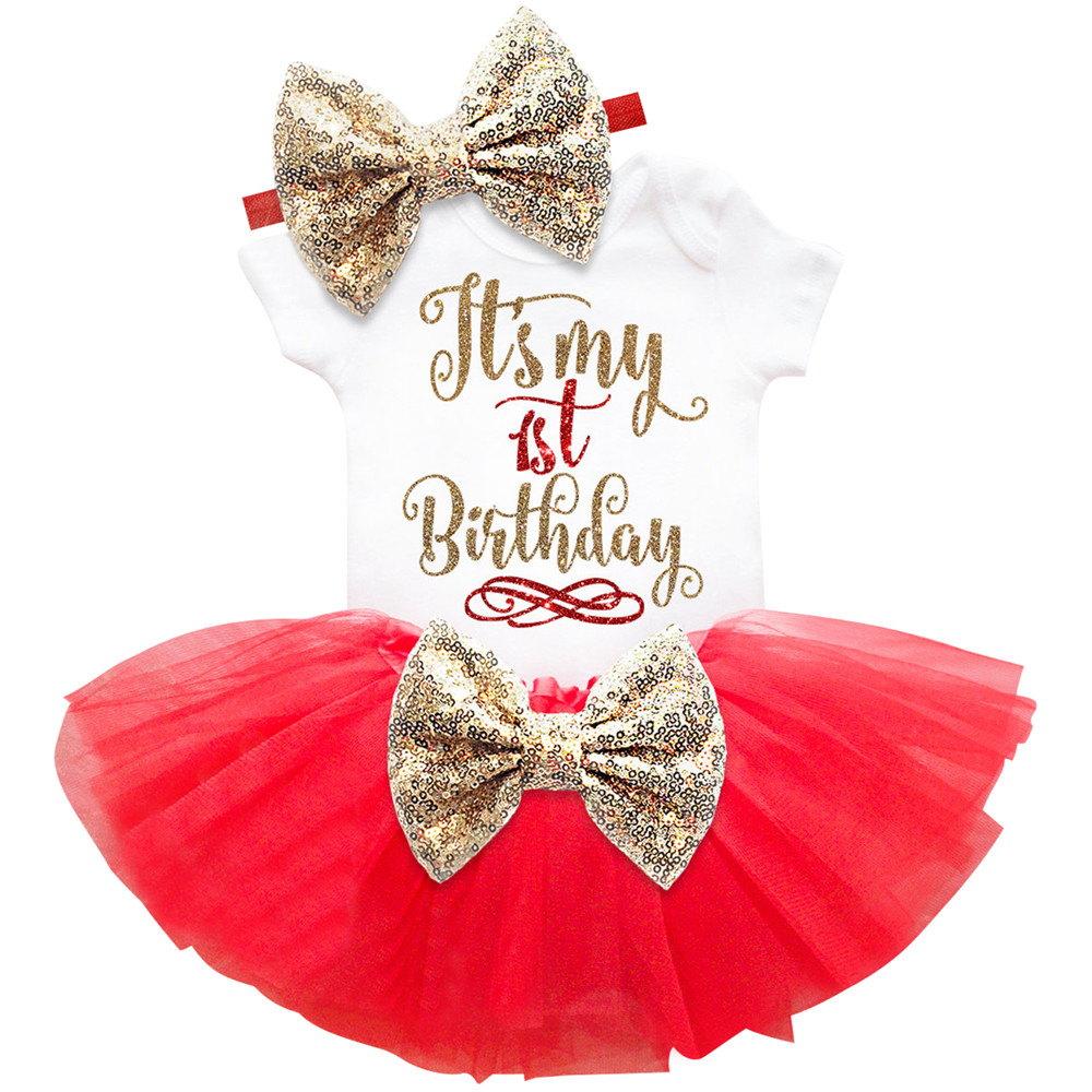 Baby-kleidung 1 Jahr Geburtstag Prinzessin Ersten Geburtstag Mädchen ...