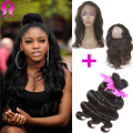 New 360 Lace Frontal With Bundles Brazilian Body Wave With Frontal Virgin Hair 3Pcs Bundles With 360 Frontal Natural Hairline