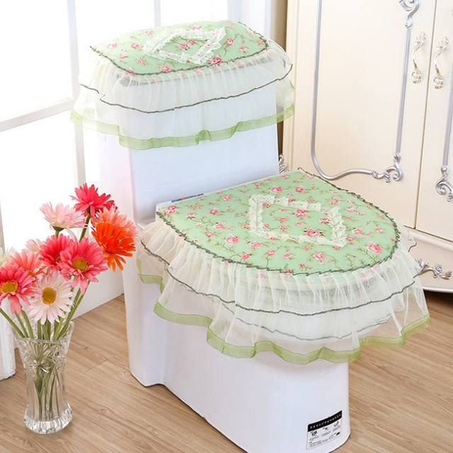 lace 3 piece set toilet seat cover u shaped overcoat home decor bathroom toilet mats