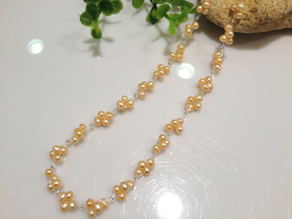 Free Shipping Small Pearl Necklace Fresh Water Pearl Necklace Unique Design Bridesmaids Jewelry