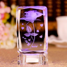 Romantic Valentine's Day Gift 3D Rose Flower Crystal Ball USB Charging Rose Night Light With Music Box Birthday Gift(China)