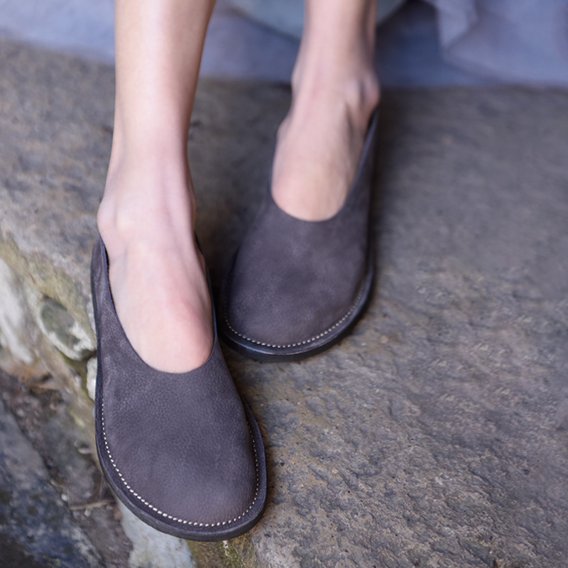 Artmu Original New Retro Japanese Style Flat Shoes Comfortable Soft Sole Genuine Leather Lazy Shoes Handmade Simple Women Flats