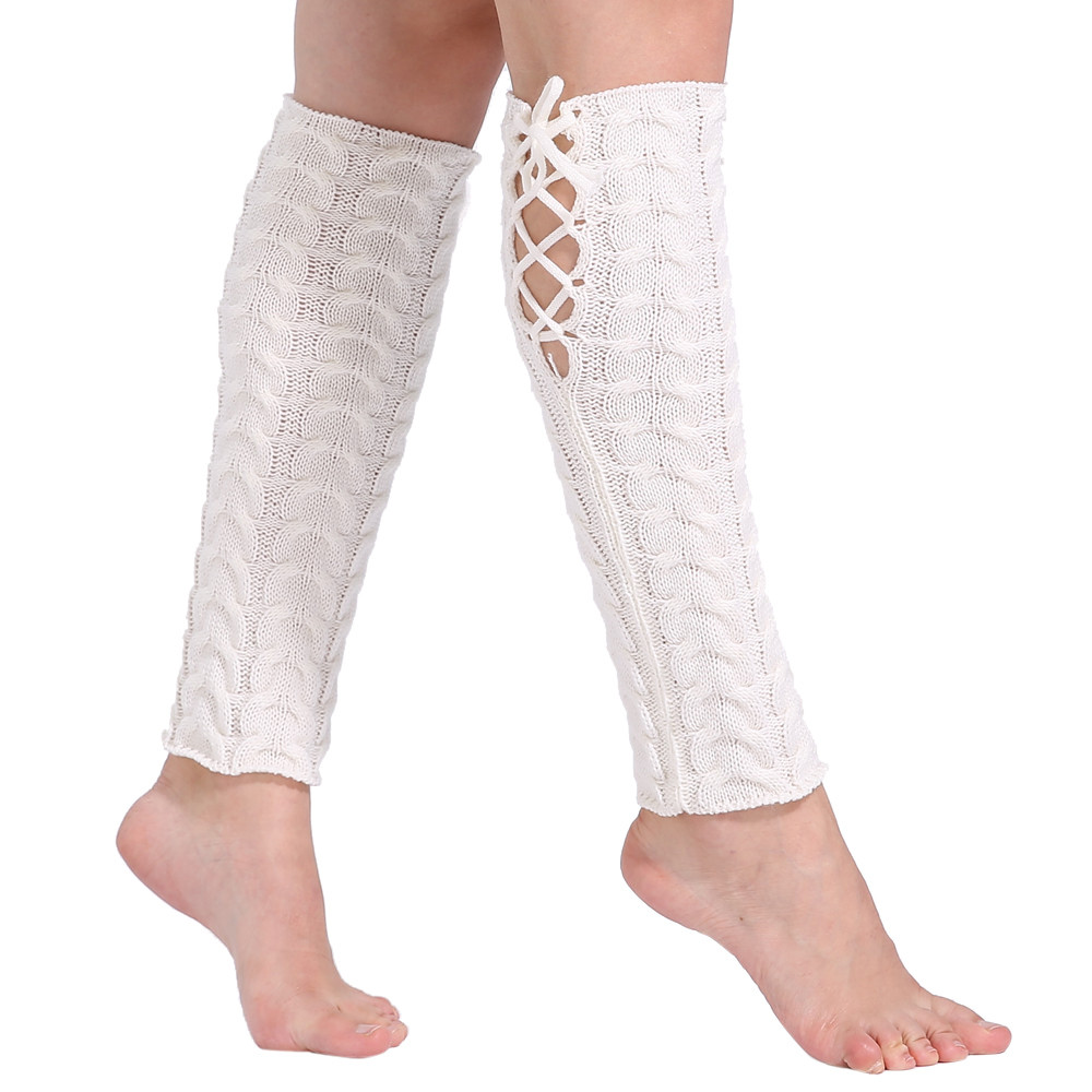 Fashion Women Winter Warm Leg Warmers Long Knitted Crochet Long Winter Socks