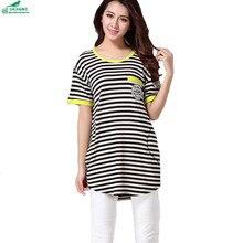 OKXGNZ Korean Striped T-shirt Female 2017New Large size Fat MM Summer Striped T-shirt Women Fashion Loose T-shirt Women Clothing