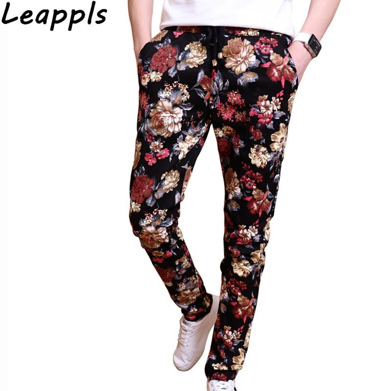 Leappls Men Pants Brand Clothing Fashion England Style Printing Pencil Pants Full Length Streetwear Pantalones Para Hombre New