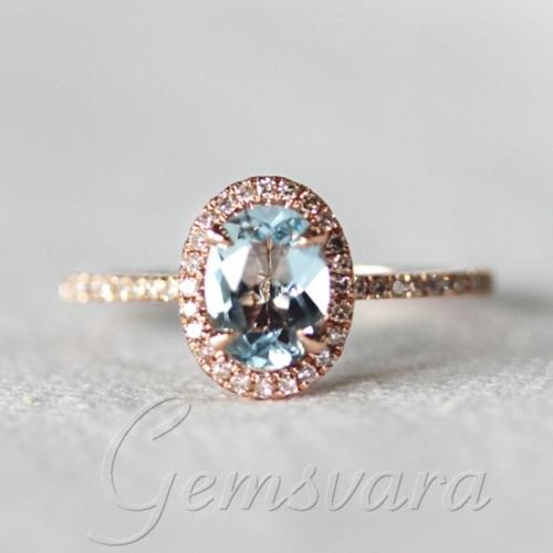 14K Rose Gold 6x8mm Aquamarine Pave Diamonds Wedding Engagement