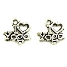 30Pcs Retro Silver Tone I Love Yoga Heart Charms Pendants Jewelry Findings 14x13mm