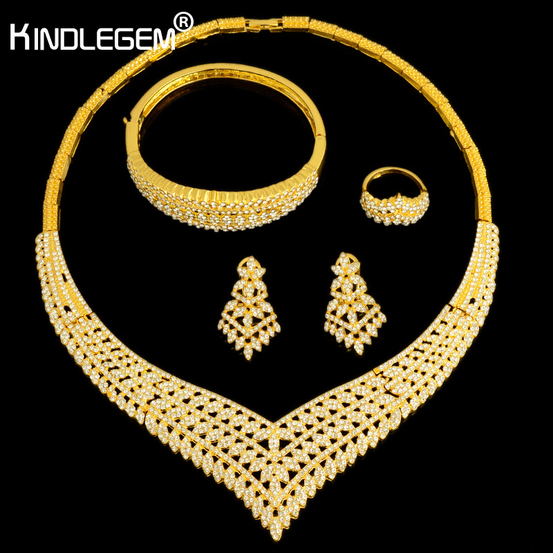 Kindlegem Fashion Crystal Crown African Jewelry Set Gorgeous Dubai Gold Color Costume Necklace Bracelet Earrings Ring For Women gorgeous faux crystal oval bracelet with ring for women