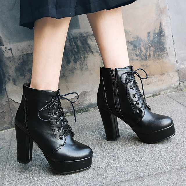 1b2ee9be342b YMECHIC 2018 Chunky Block High Heels Street Rock Punk Lady s Platform Shoes  Lace Up Zipper Goth Motorcycle Ankle Boots Plus Size