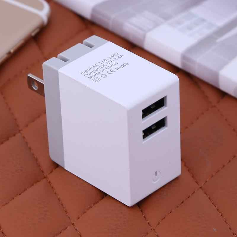 DC 5 В 2.4a Мощность разъем Зарядное устройство Dual USB HUB Порты Питание зарядки стены США Стандартный Plug Путешествия для мобильный телефон MP3