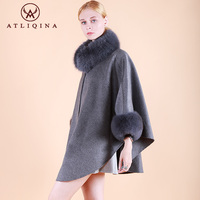 Atliqina women shawl winter pashmina real fur coat cashmere scarf with fox fur collar poncho autumn coat TOP BRAND quality