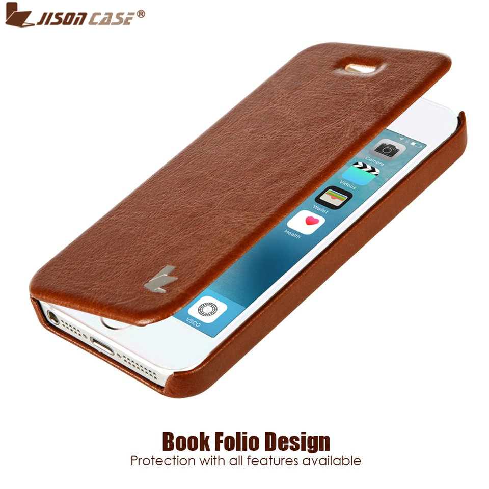 Jisoncase Luxury Leather Cases For IPhone SE 5S Fashion Brand Phone Case For IPhone 5 Flip Cover Protective Shell Cases & Bags