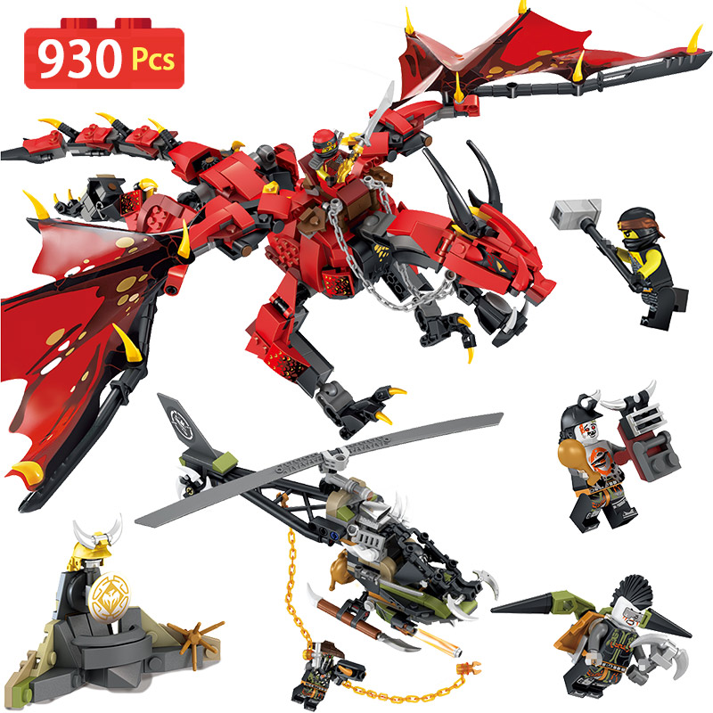 Movie Series Building Blocks Compatible LegoINGLYS Ninjagoed Flame Dragon Figures Helicopter Model Assemble Toy For Boys hot compatible legoinglys batman marvel super hero movie series building blocks robin war chariot with figures brick toys gift