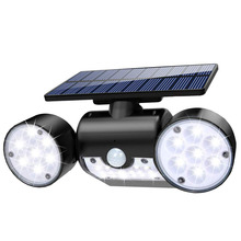 30LED Solar Lamp Yard Garden Patio Motion Sensor Dual Head Spotlight IP65 Waterproof 360 Degree Rotatable Outdoor Security Light