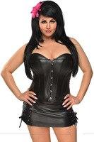 Sexy PU Leather Corset Dress P006 Faux Leather Gotico abbigliamento mezzo trainer corsetti steampunk di corsetto che dimagrisce S-6XL