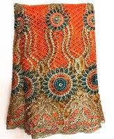 Последние Африканский орнжевый кружево ткань 2018 Высокое качество Африканский тюль роскошный дизайн с полной камни