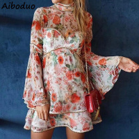 Vintage Sexy Chiffon Flower Print Dress Ruffles Flare Long Sleeve Beach Mini Dress Vestidos for Summer 2019 Handmade Beading