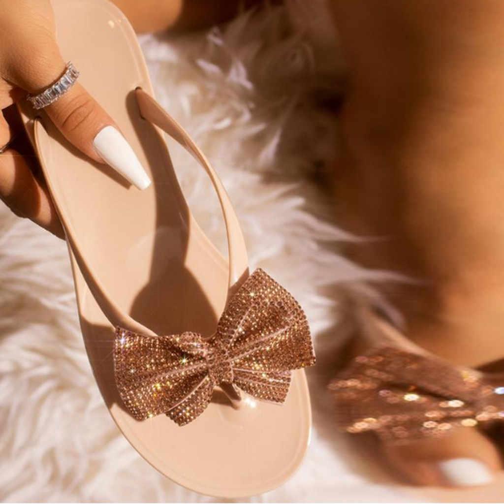 女性レジャー弓フリップフロップフラッシュ掘削スパンコールサンダルビーチフラット雨ゼリー家の靴女性のフリップ zapatos デ mujer