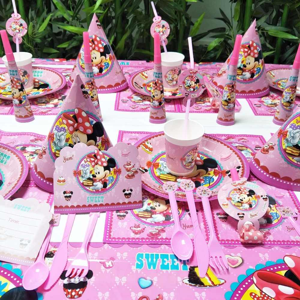 Minnie Mouse Girls Kids Birthday Party Decoration Set Mickey Party Supplies  Straw cup plate Forks Baby Birthday Party Pack event
