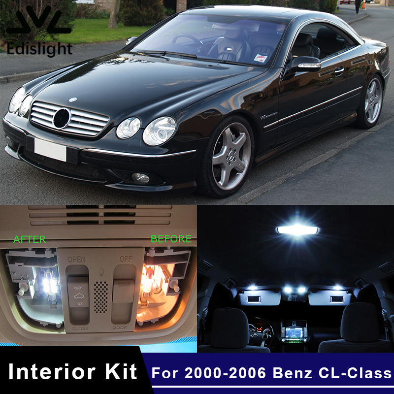 Edislight 19Pcs Canbus LED Lamp Car Bulbs Interior Package Kit For 2000-2006 Mercedes Benz CL-Class W215 Map Dome Plate Light