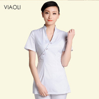 New DIY Logo Uniforms Health Club Work Clothing Female Teahouse Waitress Clothes Beauty Salon SPA Uniforms 2piece Set Embroider