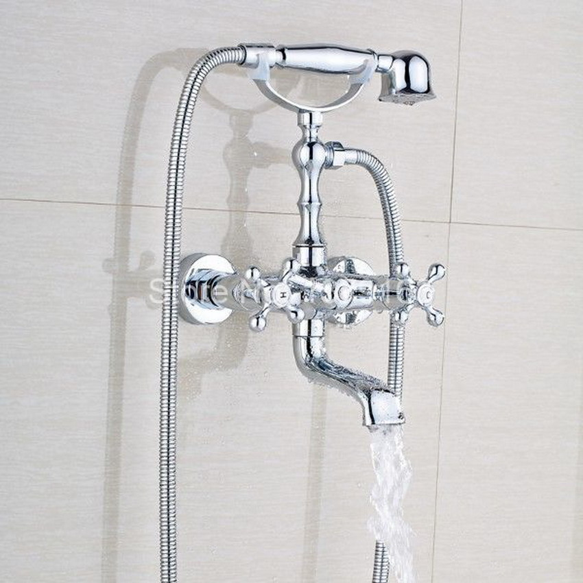 Chrome Brass Two Cross Handles Wall Mounted Clawfoot Bath Tub Faucet Mixer Tap Telephone Style Hand Held Shower Head Set atf901Chrome Brass Two Cross Handles Wall Mounted Clawfoot Bath Tub Faucet Mixer Tap Telephone Style Hand Held Shower Head Set atf901