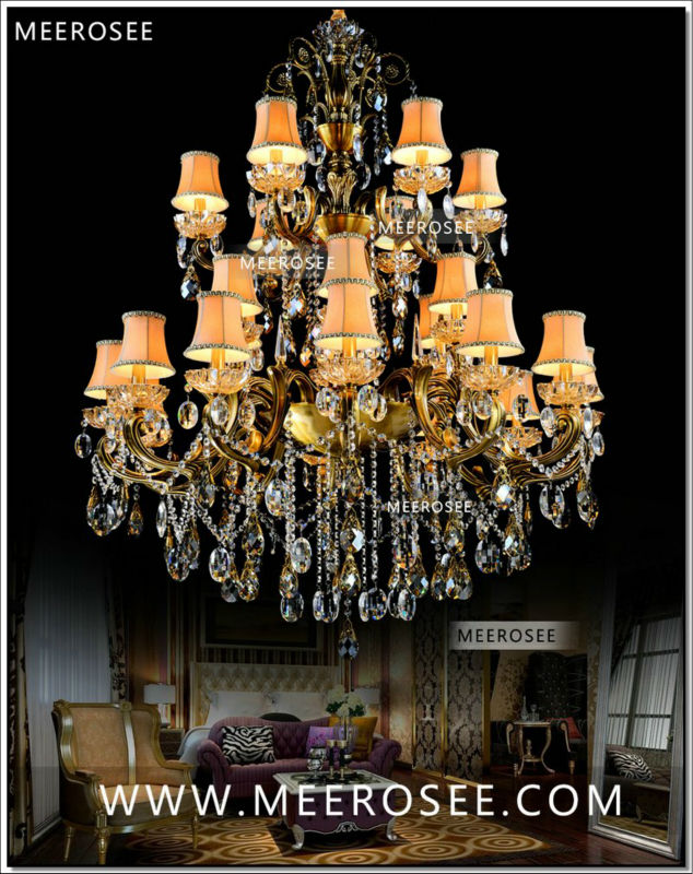 Large 3 Tiers 24 Arms Crystal Chandelier Light Fixture Antique Br Luxurious Re Lamp Md8504 L24 D1150mm H1400mm In Chandeliers From Lights